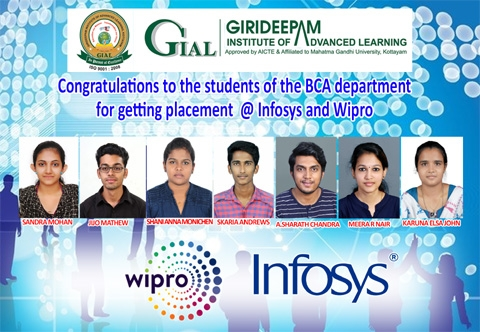 Students of the BCA department got placement @ Infosys and Wipro